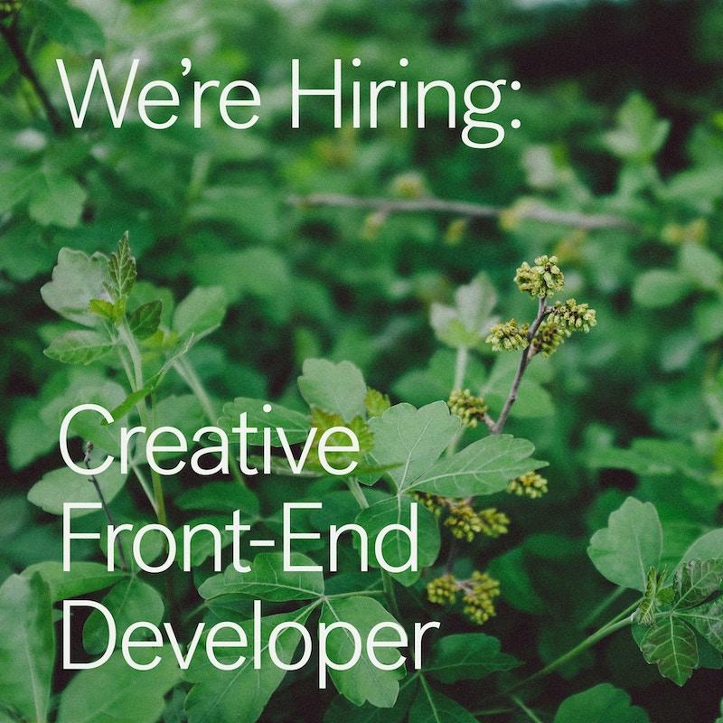 We're Hiring - Creative Frontend Developer