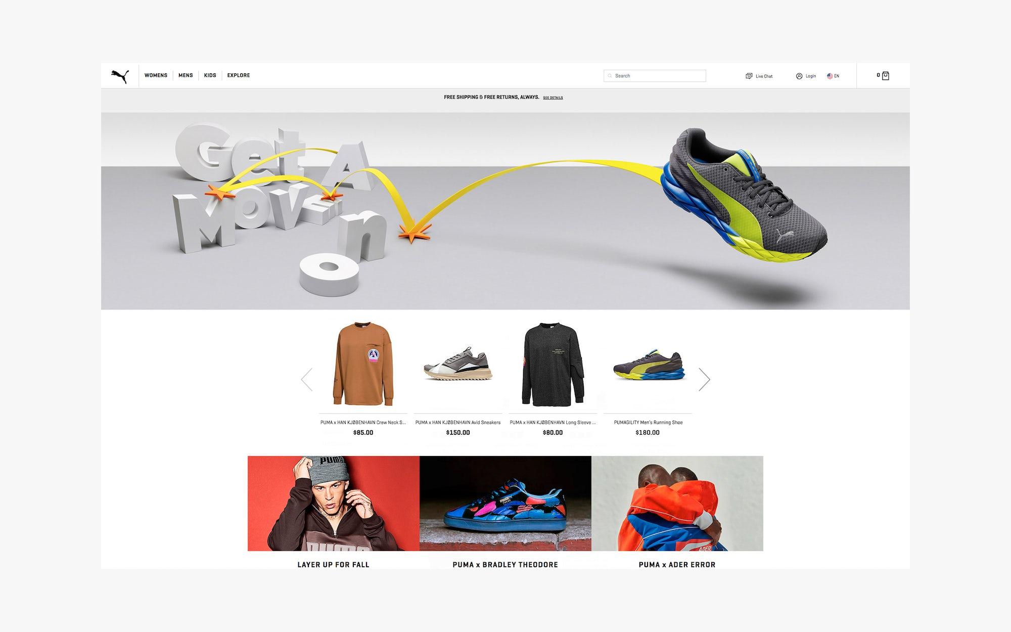 Puma Ecommerce Website Design
